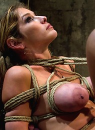 MILF with huge tits category 5 suspended from her neck & ankles Brutally fucked in her ass.